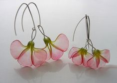 Translucent polymer clay flower earrings