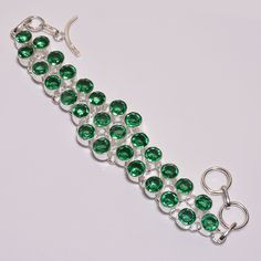 Awesome Faceted Apatite Quartz .925 Silver Handmade Bracelet Jewelry JB634 #Handmade