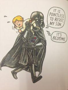 "From ""Darth Vader and Son"", by Jeffery Brown. The little Luke is so cute Star Wars Witze, Star Wars Jokes, Star Wars Comics, Darth Vader And Son, Darth Maul, Starwars, Pokemon, Love Stars, Nerdy"
