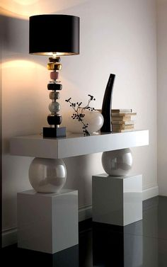 A1162 MAJOLICA PEARL SPHERES CONSOLE TABLE - ARCHITECTURAL CONSOLE TABLE ROOMSET WITH MAJOLICA PEARLISED SPHERES. $13,000