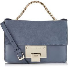 Stormy Blue Suede and Patent Messenger Bag REBEL SOFT MINI ($795) ❤ liked on Polyvore featuring bags, messenger bags, blue suede bag, suede bag, blue messenger bag, mini messenger bag and patent leather bags