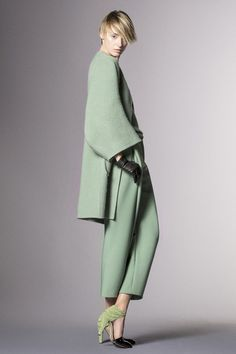"""How? Vintage candy green in knobby wool and thick pant fabric should scream """"No!"""" but all I hear is a mega fashion YES! Amazing with that heel and simply styled for effortless beauty. Giorgio Armani   Pre-Fall 2014 Collection   Style.com"""