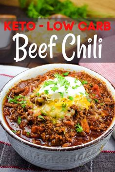 An easy keto low carb beef chili made in the Instant Pot pressure cooker or slow cooker. This no bean chili is rich and full of delicious flavor the whole family will love. # low carb chili recipe Keto Low Carb Beef Chili - Instant Pot or Crock Pot Recipe Keto Chili Recipe, Keto Crockpot Recipes, Healthy Low Carb Recipes, Low Carb Keto, Diet Recipes, Salmon Recipes, Low Carb Soups, Low Carb Beans, Ground Beef Keto Recipes