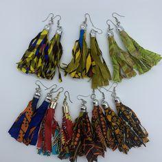 Fabric Brooch, Fabric Earrings, Fabric Beads, Felt Fabric, Tassel Earrings, Cotton Fabric, Textile Jewelry, Fabric Jewelry, Boho Jewelry