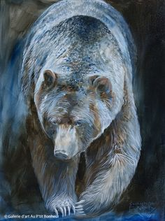 Shannon Ford, 'Moonlight Grizzly', x Parrot Painting, Silk Painting, Big Teddy Bear, Bear Paintings, Art Gallery, Chinese Martial Arts, Bear Art, Pallet Art, Wildlife Art