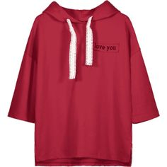 Letter Patched Drawstring Hoodie Red S ($26) ❤ liked on Polyvore featuring tops, hoodies, drawstring hoodie, red top, drawstring hooded pullover, red hoodies and red hooded sweatshirt