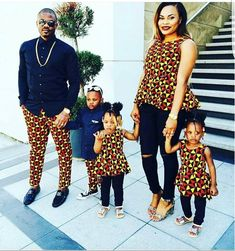 matching african outfits for family, latest african ankara styles for family, parents and kids ankara styles and designs, trendy ankara designs and styles for family, Beautiful Family Ankara Styles Couples African Outfits, Couple Outfits, Family Outfits, African Attire, African Wear, African Dress, African Women, African Style, African Print Fashion