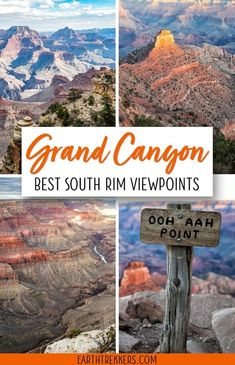 16 Amazing South Rim Viewpoints in the Grand Canyon - The best South Rim Views of the Grand Canyon. There are dozens of viewpoints to choose from on the - Grand Canyon Vacation, Grand Canyon Village, Visiting The Grand Canyon, Grand Canyon South Rim, Sedona To Grand Canyon, Grand Canyon Hiking, Arizona Road Trip, Arizona Travel, Road Trip Usa