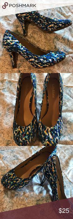 """Beautiful Blue Patterned High Heels NWOT Super fun and cute high heels with a beautiful watercolor blue design. 3.5"""" heel. Worn only to try on, brand new without tags! Kelly & Katie Shoes Heels"""