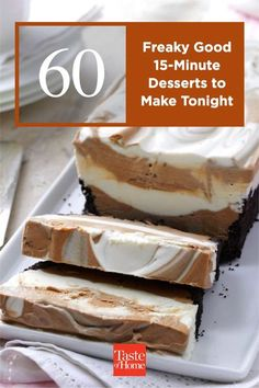 You worked hard on dinner, you deserve a break for dessert. These simple 15-minute desserts allow for just that. Make 'em ahead so they have enough time to set or be refrigerated overnight. 15 Minute Desserts, Desserts To Make, Delicious Desserts, Yummy Food, Tasty, Banana Dessert, Breakfast Dessert, Pie Dessert, Cake Mix Recipes