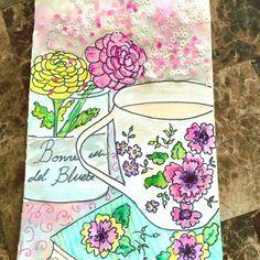 Dreaming of tea & flowers, watercolor by Alpaqui // Sueño de té y flores, acuarela por Alpaqui #watercolor #watercolorcards #watercoloring #pentel #pentelart #comissionwork #alpaqui #art #artwork #sequins #illustration #illustrations #illustrationart