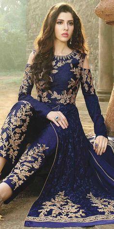 Eye-Catchy Blue And Beige Designer Anarkali Suit. Pakistani Dresses, Indian Dresses, Indian Outfits, Abaya Fashion, Indian Fashion, Fashion Dresses, Stylish Dresses, Designer Party Wear Dresses, Dress Indian Style