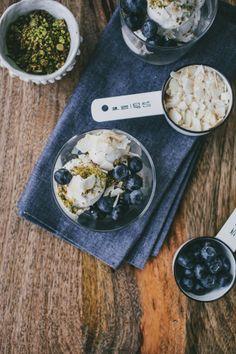 Coconut Ice Cream with Pistachio Crumb and Blueberries