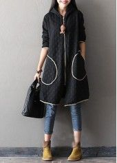 Circle Pattern Hooded Collar Zipper Up Pocket Coat on sale only US$35.29 now, buy cheap Circle Pattern Hooded Collar Zipper Up Pocket Coat at lulugal.com
