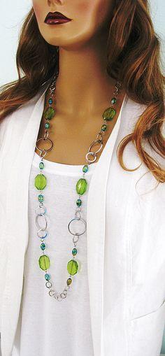 Collier long vert collier de perles verte par RalstonOriginals