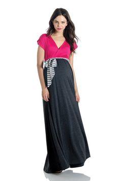534e2d13b6 Lilac Clothing Jill Maxi Dress Hot Pink and Charcoal Ropa Para Embarazadas