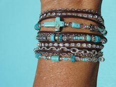 Turquoise Leather Wrap Bracelet Boho  Western  by fleurdesignz