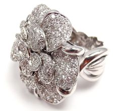 CHANEL Diamond Large Camelia Flower White Gold Ring