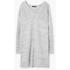 Flecked Dress ($13) ❤ liked on Polyvore featuring dresses, raglan dress, panel dresses, mango dresses, v-neck dresses and zip dress