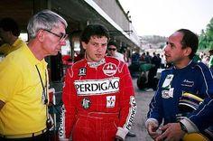(L to R): Ron Tauranac (AUS) Ralt Designer talks with Mauricio Gugelmin (BRA) Ralt and Roberto Moreno (BRA) Ralt - 1987 Intercontinental Formula 3000 Championship - © Sutton Motorsport Images