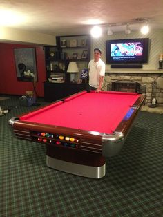 Restored Brunswick Anniversary Pool Table With Standard Drop Pockets, Red  Mahogany/ Sedona Red Mix