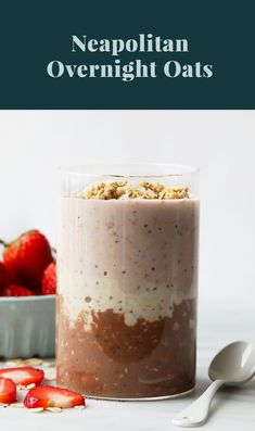 3 flavors are better than one! Make Neapolitan Overnight Oats and get a HEALTHY bite of chocolate, vanilla, and strawberry in every bite. This overnight oats recipe is packed with protein, fiber, and healthy fats! Healthy Cookie Recipes, Healthy Filling Snacks, Peanut Butter Recipes, High Protein Recipes, Oatmeal Recipes, Healthy Cookies, Healthy Breakfast Recipes, Healthy Foods To Eat, Yummy Snacks