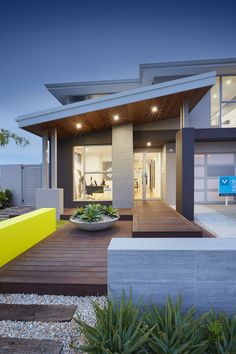 Display Homes in Perth by Ventura Homes Perth Modern House Facades, Ventura Homes, House Roof, Minimalis House Design, House Exterior, Facade Design, Skillion Roof, Story House, Roof Design
