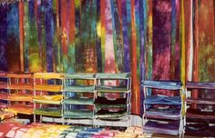 hand dyed fabric booth   display