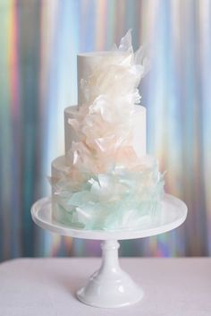 Iridescent and opal inspired wedding cake
