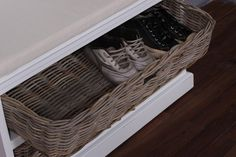 Whitehaven Painted Coat Hanger With Cushion and 2 Rattan Baskets - Cupboards & Wall Units - Lounge & Living