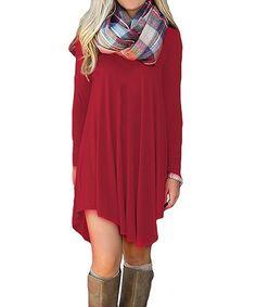 Women's Long Sleeve Casual Loose Tunic T-Shirt Dress - - Clothing, Dresses, Casual Best Casual Dresses, Plaid Scarf, Amazing Women, Shirt Dress, Fashion Outfits, Clothes For Women, Long Sleeve, Women's Clothing, Sleeves