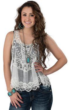 Vintage Havana® Women's White Lace and Crochet Sleeveless Racer Back Tank Fashion Top