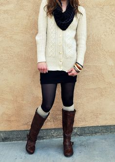 Knit Fall Layers very simple black tights knee high cream/white socks riding boots black skirt white button down sweater black scarf
