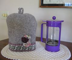 Felted Wool coffee press cozy by WoollyMammothMontana on Etsy, $24.00