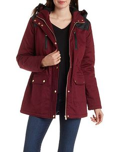 Fleece and Faux Fur Lined Anorak Jacket: Charlotte Russe