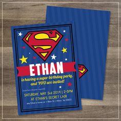 Superman Birthday Party Invitation // by afranksdesigns on Etsy