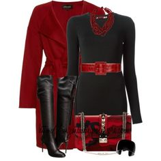 Black and Red | Dress and High Heel Boots | Fabulous Purse and Jacket