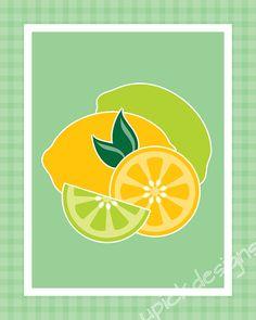http://www.etsy.com/shop/upickdesigns    $5.00 Pop-Art, Fruit, Lemon, Lime, Citrus, Kitchen Art