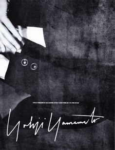 Yohji Yamamoto advertising campaign, 1989. Photo: Max Vadukul.