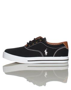 POLO Lace front closure Low top shoe with Canvas and rubber trim materials Contrasting stitching Padded tongue with logo Leather patch detail Polo Shoes, Cute Shoes, Vans, Footwear, Mens Fashion, Sneakers, Stitching, Leather, Closure