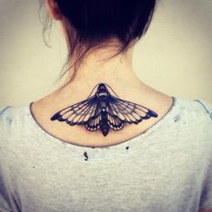 Moth of Back of Neck Tattoo by Pari Corbitt