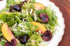 Greens with cherries and nectarines | The Organic Kitchen Blog and Tutorials