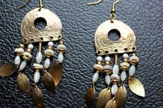 Bohemian Gold Tone Feather Earrings by CrucibleCrow on Etsy