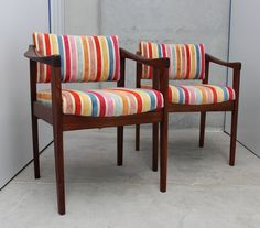 These two are our favourites! A pair of mid century dining chairs recovered in a multi-coloured vintage striped chenille. The Gleasons are family and will only be sold as a pair.Please note tha. Mid Century Dining Chairs, Armchair, Note, Fabric, Furniture, Vintage, Home Decor, Sofa Chair, Tejido