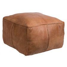 Moroccan Leather Pouf Ottoman