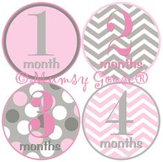 Baby Girl Age Stickers Baby Months Stickers Girl by MumsyGoose