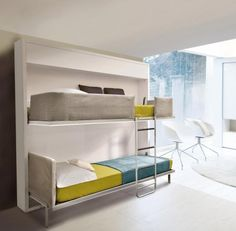 A solution for small rooms. A space saving piece of furniture converts into a bunk bed with removable ladder.