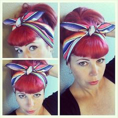 Serapa Mexican Blanket one sided WIDE Headwrap Bandana Hair Bow Tie 1950s Vintage Style - Rockabilly - Pin Up - For Women, Teens