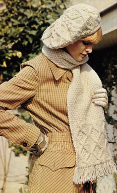 Vintage aran beret and scarf pattern