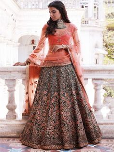 India Emporium is a one stop ethnic wear online store for all your online saree shopping, designer wear, salwar kameez, bridal wear, lehenga cholis & artificial jewellery needs. Indian Bridal Couture, Indian Bridal Lehenga, Indian Bridal Fashion, Indian Bridal Wear, Red Lehenga, Indian Wedding Outfits, Bridal Outfits, Bollywood Lehenga, Lengha Choli